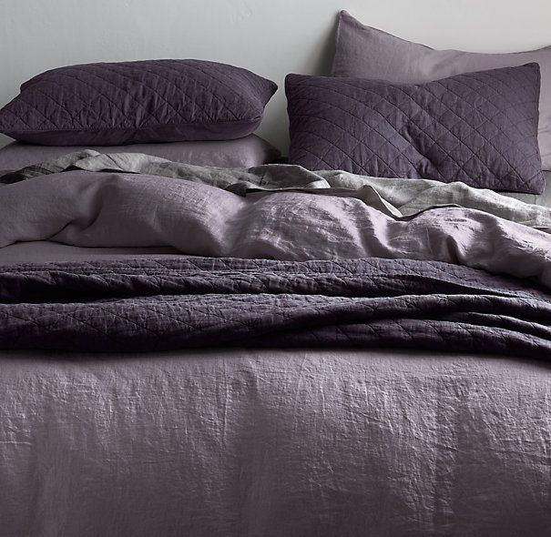 Garment Dyed Linen Bedding Collection Purple Bedding Purple
