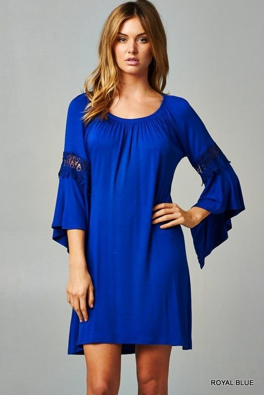Bell Sleeve Dress - Royal Blue