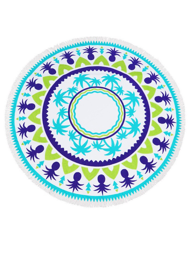 Palm And Pinele Heavy Terry Round Beach Towels With Deluxe Trim