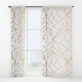 Geometric Gold Pattern With White Shimmer Window Curtains