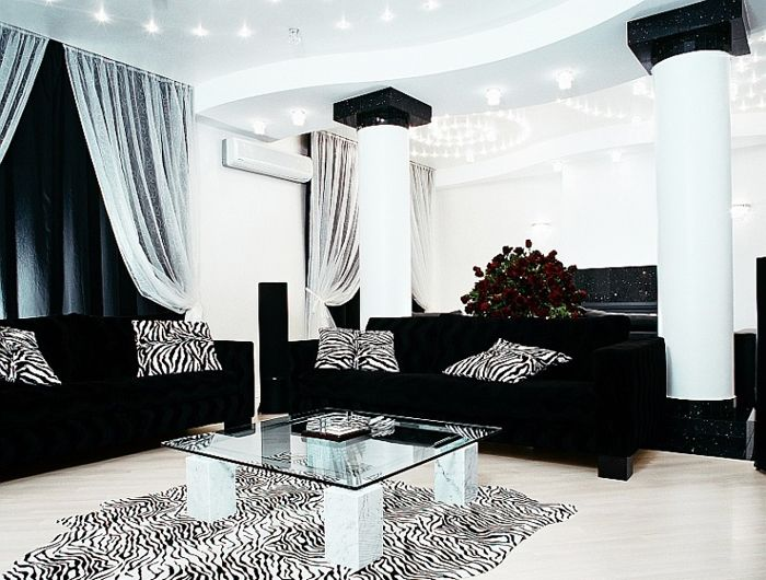 Black And White Living Room Furniture living room with black and white sofa - creditrestore