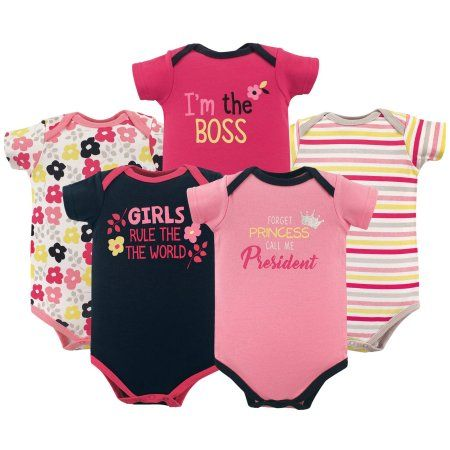 Luvable Friends Basics Baby Girl Bodysuit Set 5 Pack Size 3 6