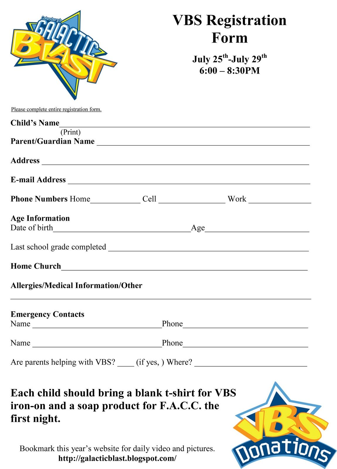 Free Vbs Registration Form Template
