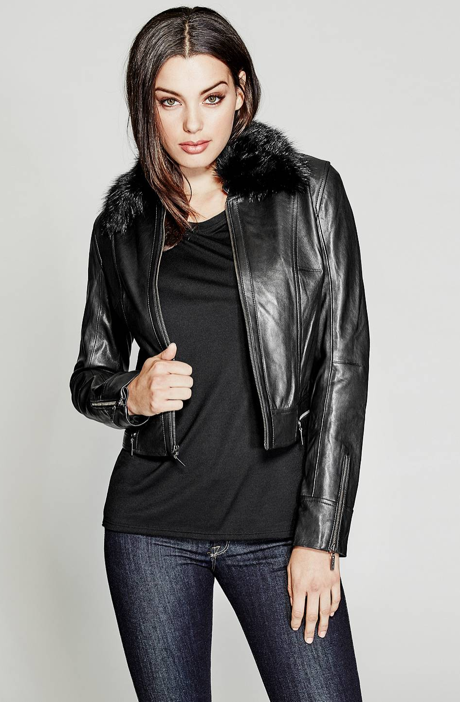 The Brionna Leather Jacket with fur hood