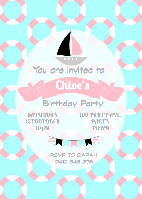 Child's Pink and Blue Nautical Birthday by Leeandmeinvitations