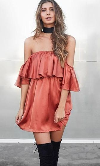 Orange Dress with Ruffles