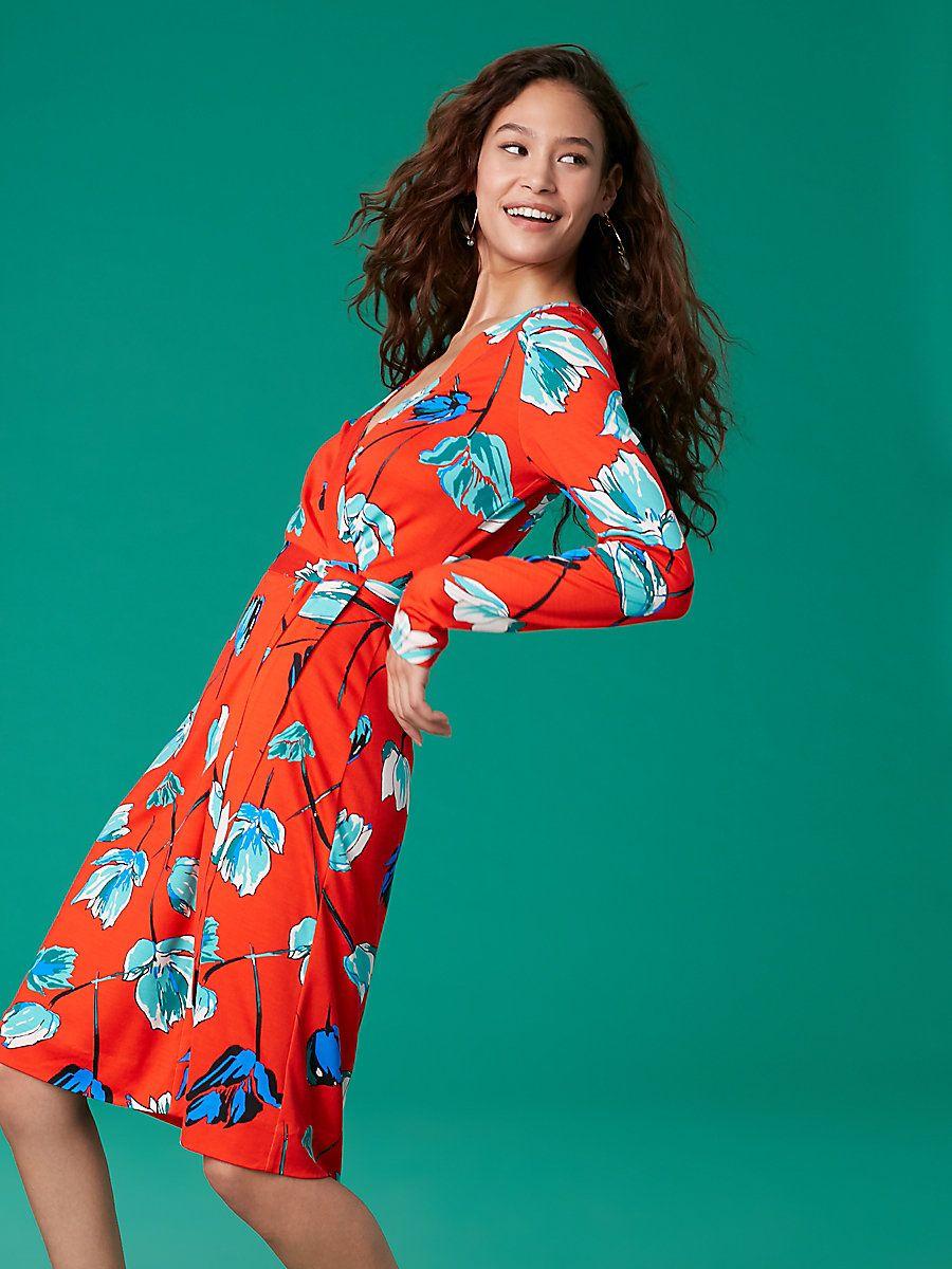 ff2cd1d684884 Julian Banded Silk Jersey Wrap Dress in Asher Vermillion. Find this Pin and  more on DIANE VON FÜRSTENBERG ...