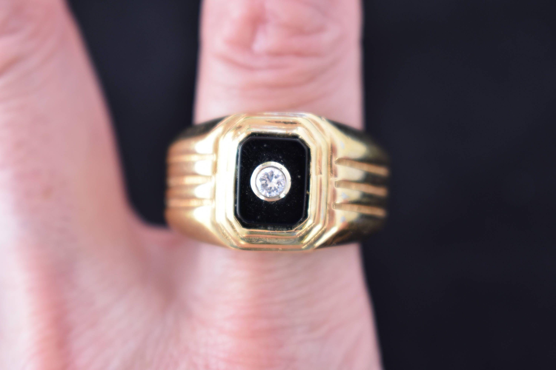 Vintage 14K GE Men\'s Signet Ring Black Onyx Joe Esposito Signed Espo ...