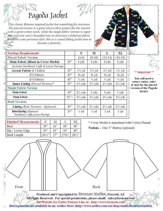 Pagoda Jacket Pattern, Haori or Kimono Sewing Pattern, BSS160 ...