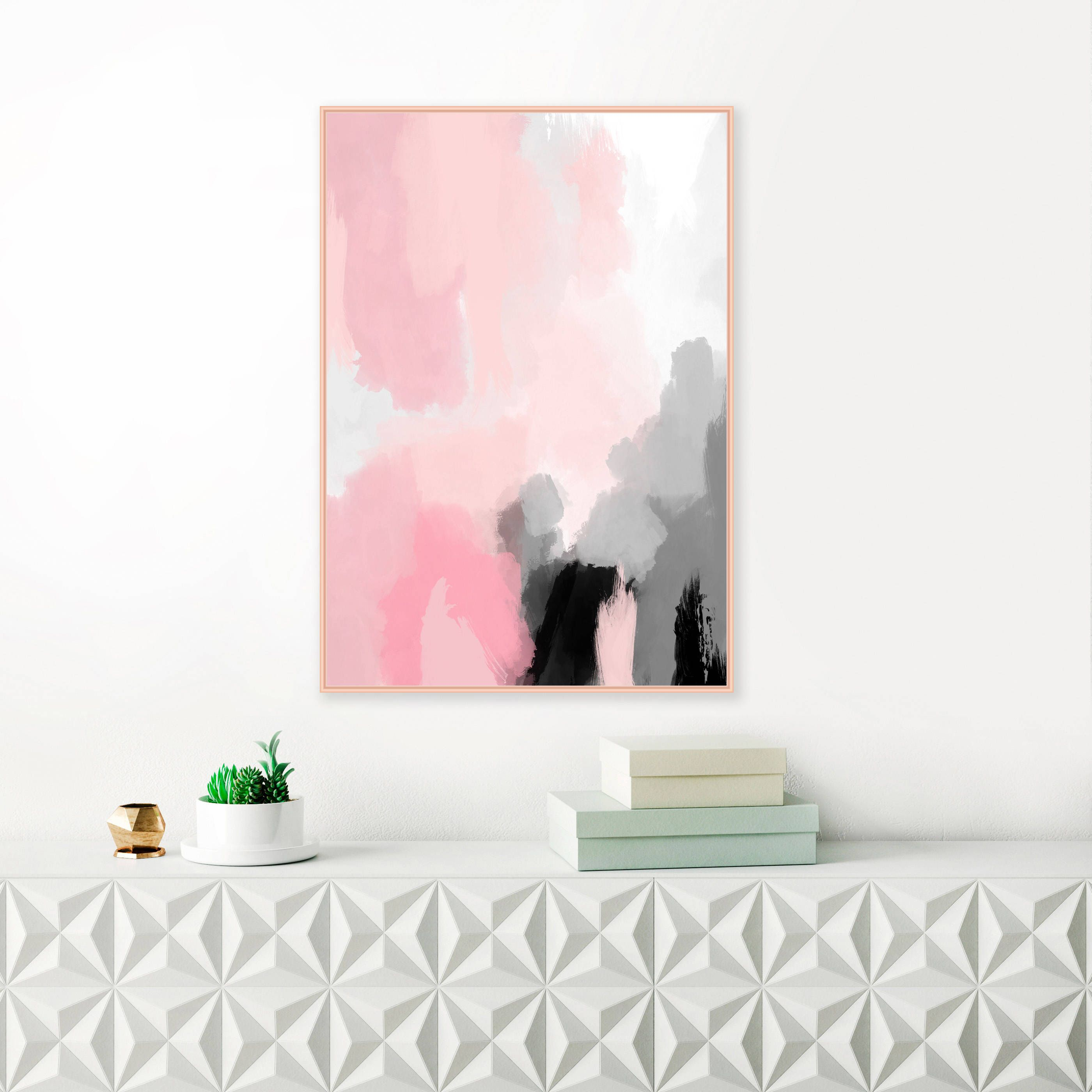 Modern Abstract Painting Pink Abstract Art Printable Wall Art