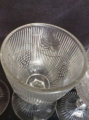 """Big 19th century clear eapg glass Grapevine pattern Set Of 6 6"""" Glasses"""