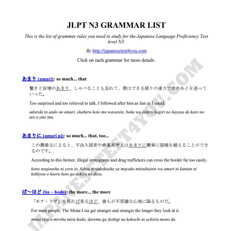 JLPT N3 Grammar List | Learn Japanese | Grammar, Listening test