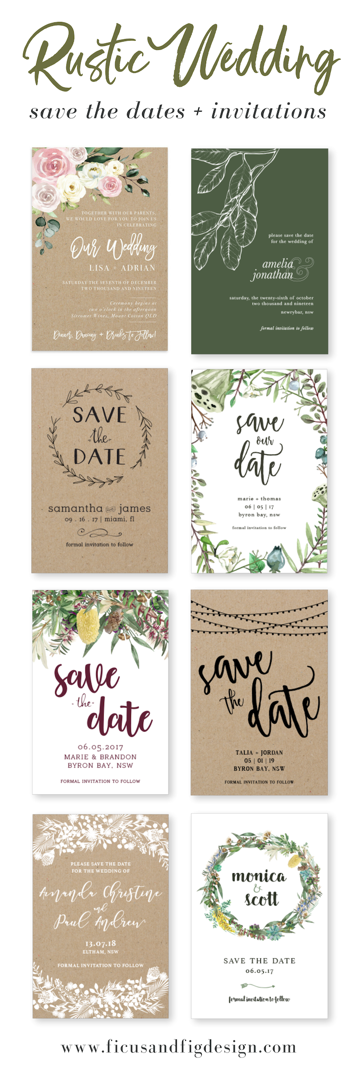 Ficus And Fig Design Custom Wedding Invitations Australia Rustic Wedding Save The In 2020 Wedding Invitations Australia Wedding Saving Rustic Wedding Save The Dates