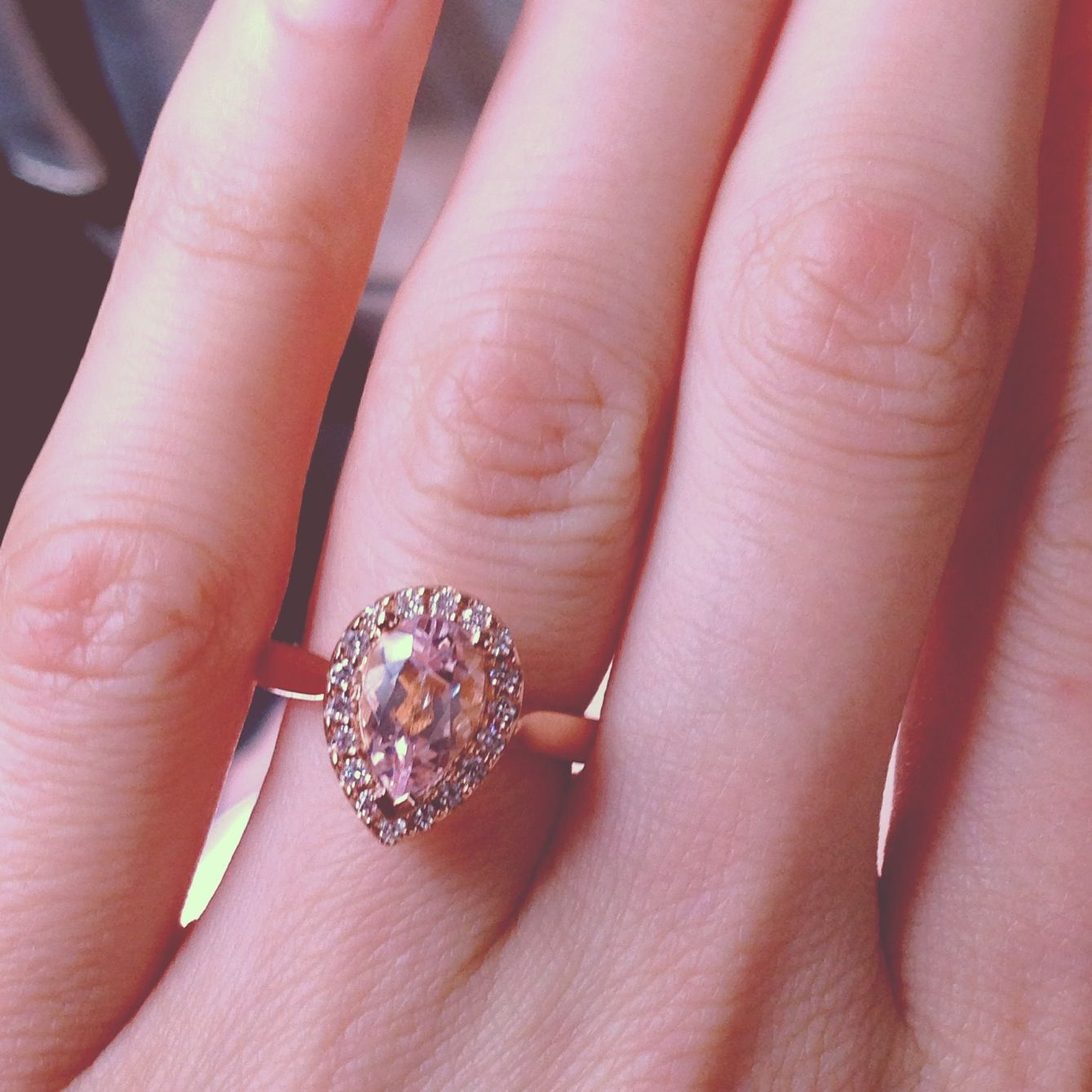 Rose gold pear cut morganite engagement ring. LOVE   A girl can ...