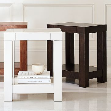 Parsons End Table White WestElm Single Drawer Closes - West elm parsons end table