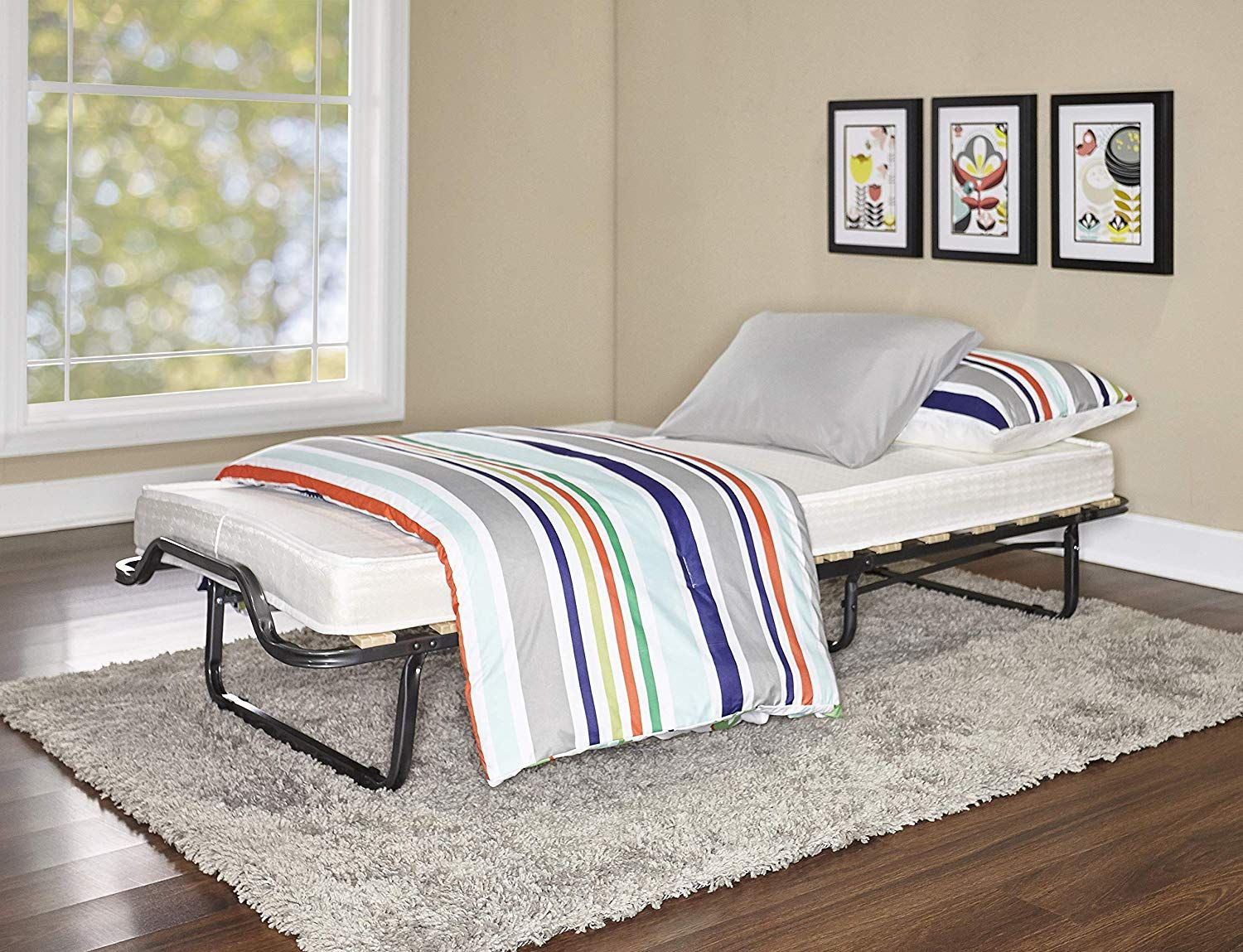 - Item Includes The Steel Frame And Mattress. Finish: Smooth