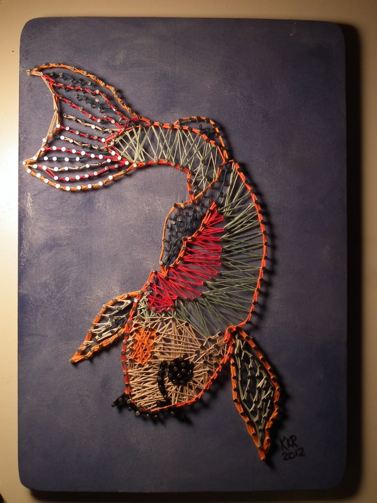 Nail and String Art on Wood