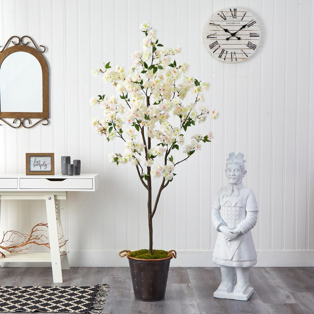 Nearly Natural 6 Ft Cherry Blossom Artificial Tree In Decorative Metal Pail With Rope T2535 The Home Depot In 2021 Metal Decor Decor Artificial Cherry Blossom Tree