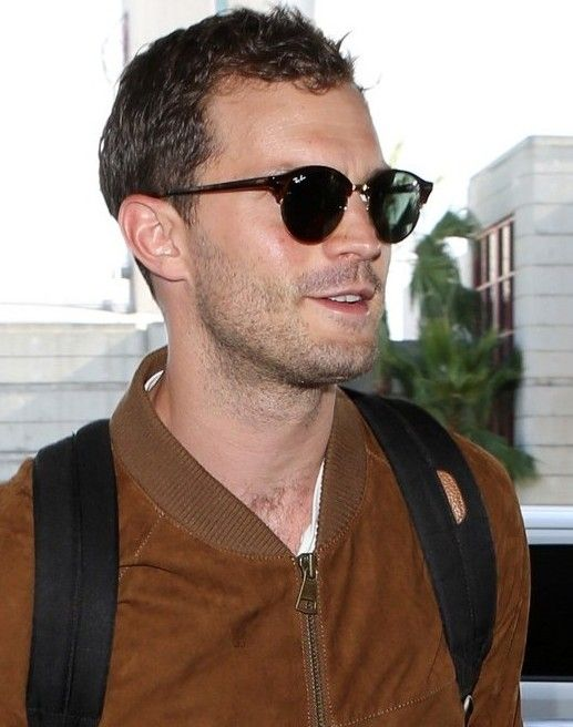 e4c09e5e1f Jamie Dornan at LAX sporting Ray-Ban Clubmaster Rounds ...