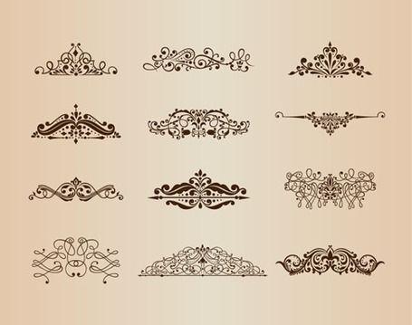 Vector conjunto de adornos de época con elementos de diseño Floral