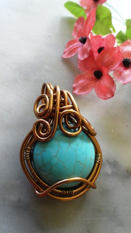 #aluminum #wire_jewelry  #pendant #gemstone #turquoise #handmade