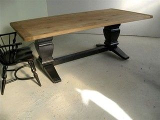 Elegant Reclaimed Wood Table With Black Trestle Base   Rustic   Dining Tables    Boston   By
