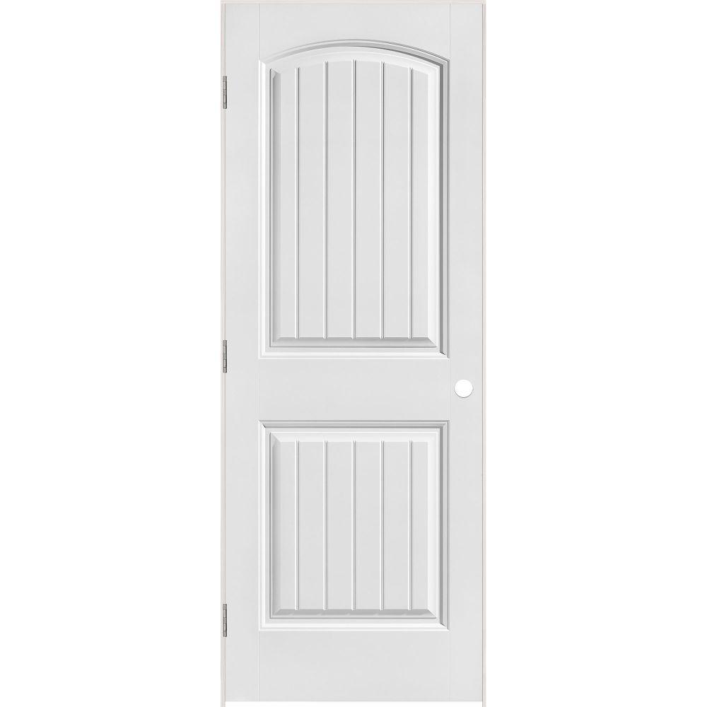 Primed 2 Panel Plank Smooth Prehung Interior Door 36 In. X 80 In.