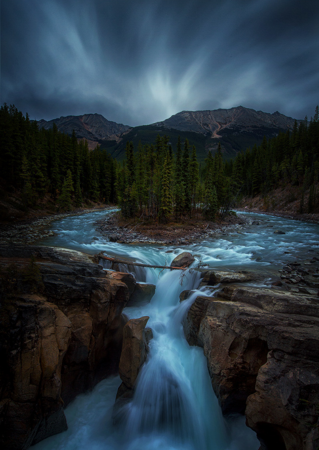 Sunwapta Falls In The Rain Landscape Travel Photography