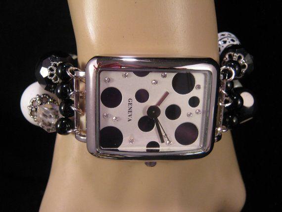 Statement Watch Handmade Black and White by JenniferJonesJewelry, $50.00
