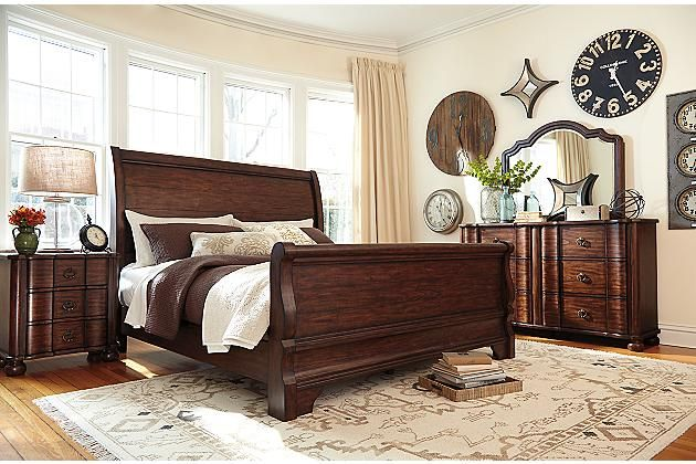 Brown Hadelyn King Sleigh Bed View 4 Master Bedroom Furniture Stylish Bedroom Furniture