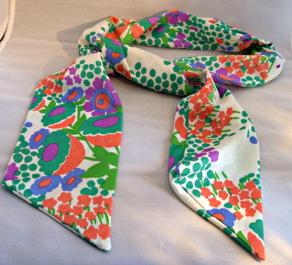 Vintage Polyester Silk Scarf  Multi Color Bold Floral Narrow