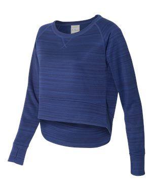 J. America 8663 - Women's Striped Poly Fleece Hi-Low Crewneck ...