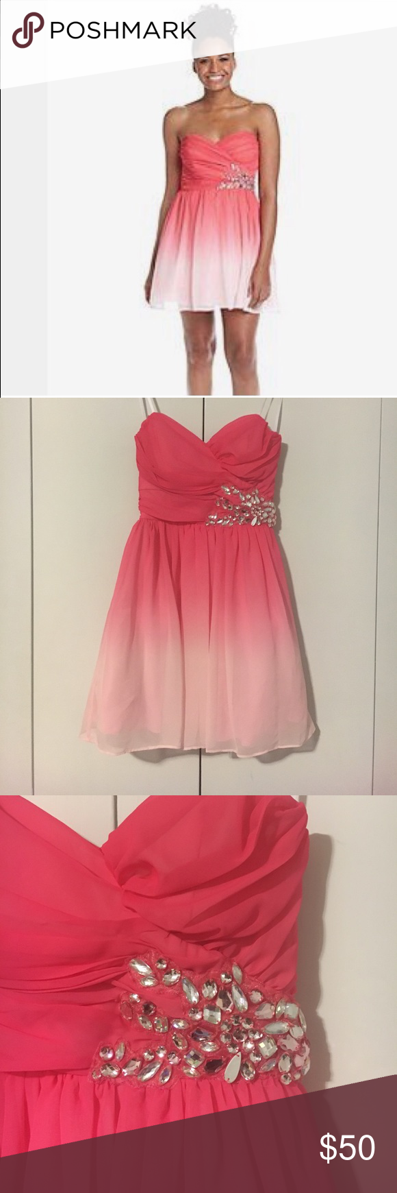 B Darlin Pink Ombré Party Dress | Neckline, Customer support and ...