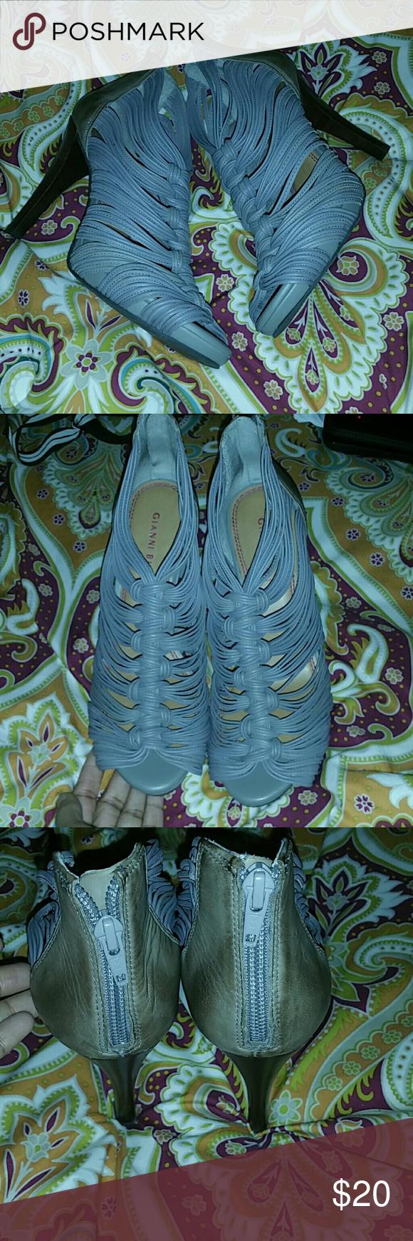 Gianni Bini strappy heels Gianni Bini strappy heels, sz 8.5, never worn/nwot,  leather upper, taupe colored Gianni Bini Shoes Heels