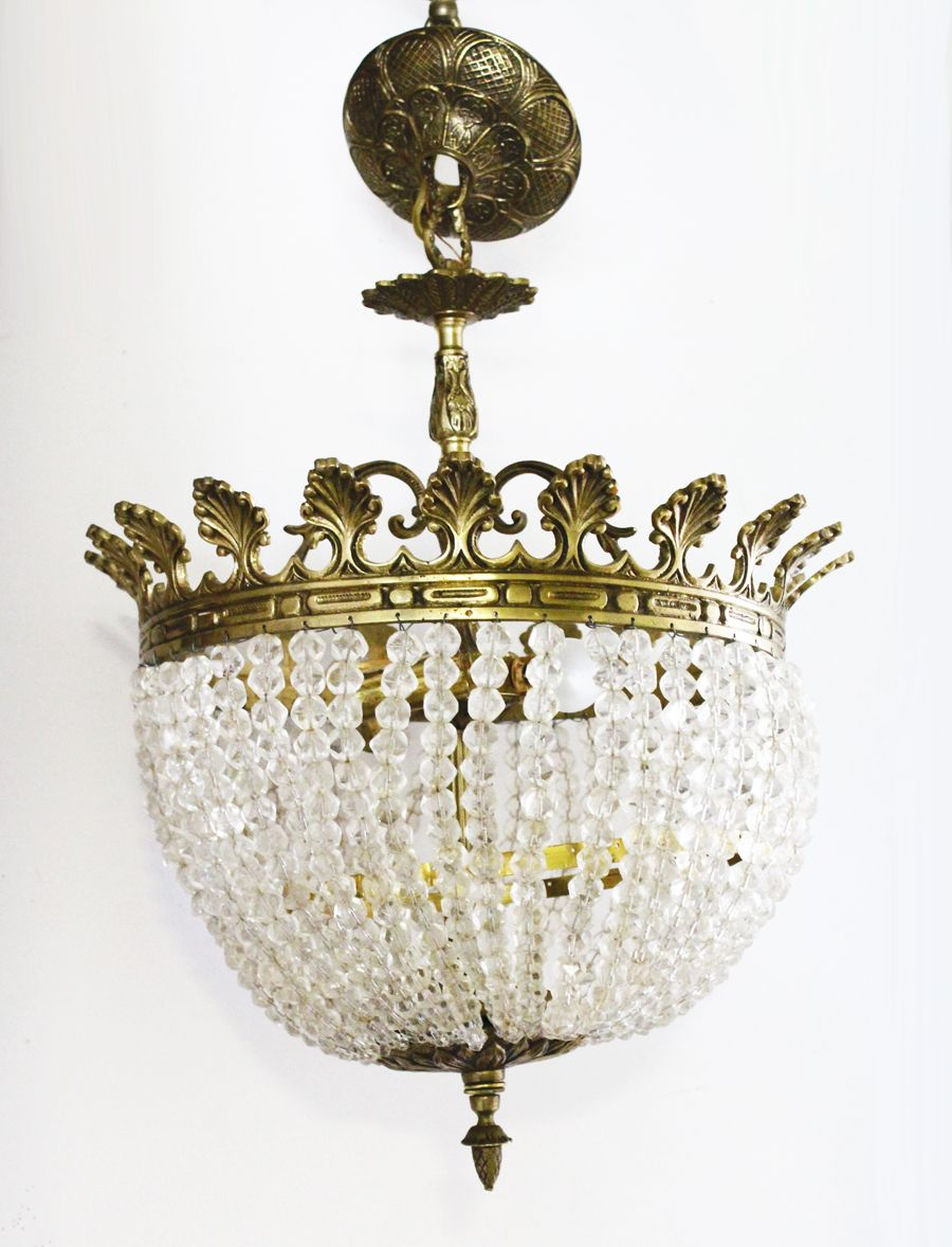 French empire antique rock crystal beaded basket chandelier oh french empire antique rock crystal beaded basket chandelier aloadofball Image collections