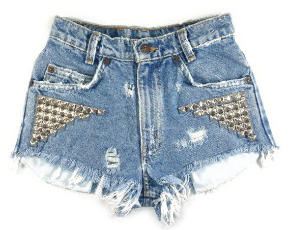 Blue Nova Short studded cutoff shorts by Omeneye on Etsy, $89.00