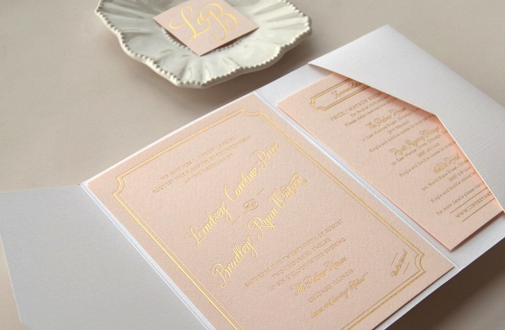 Gilded Wedding Invitations Etsy Weddings Stationery Pastel Peach