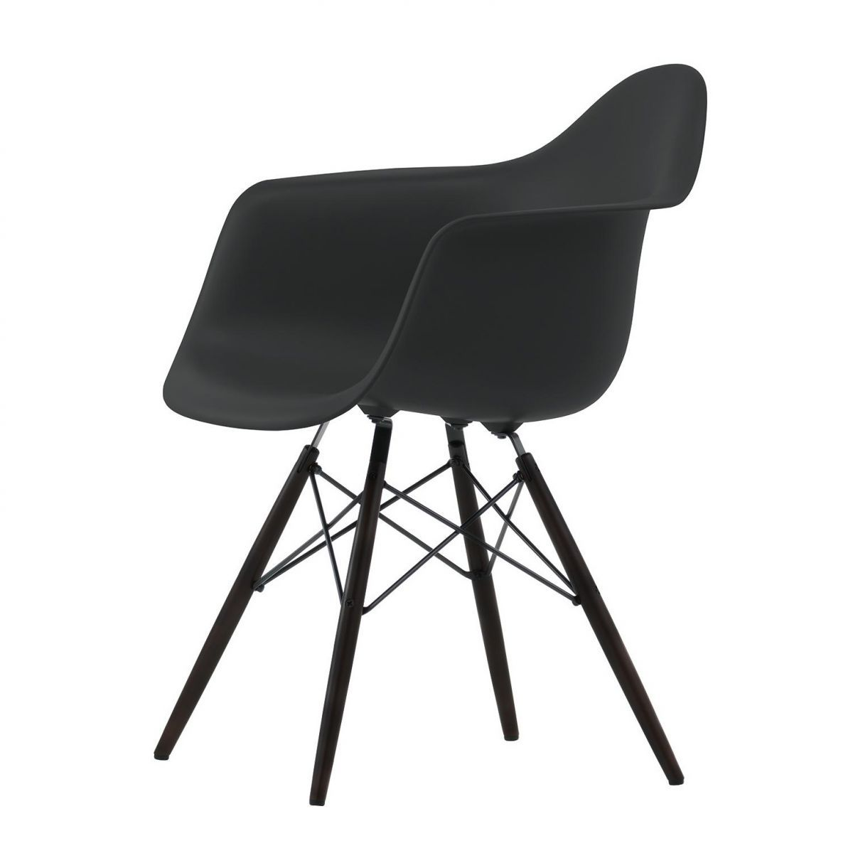Eames Plastic Armchair DAW Maple Black Vitra Stoelen