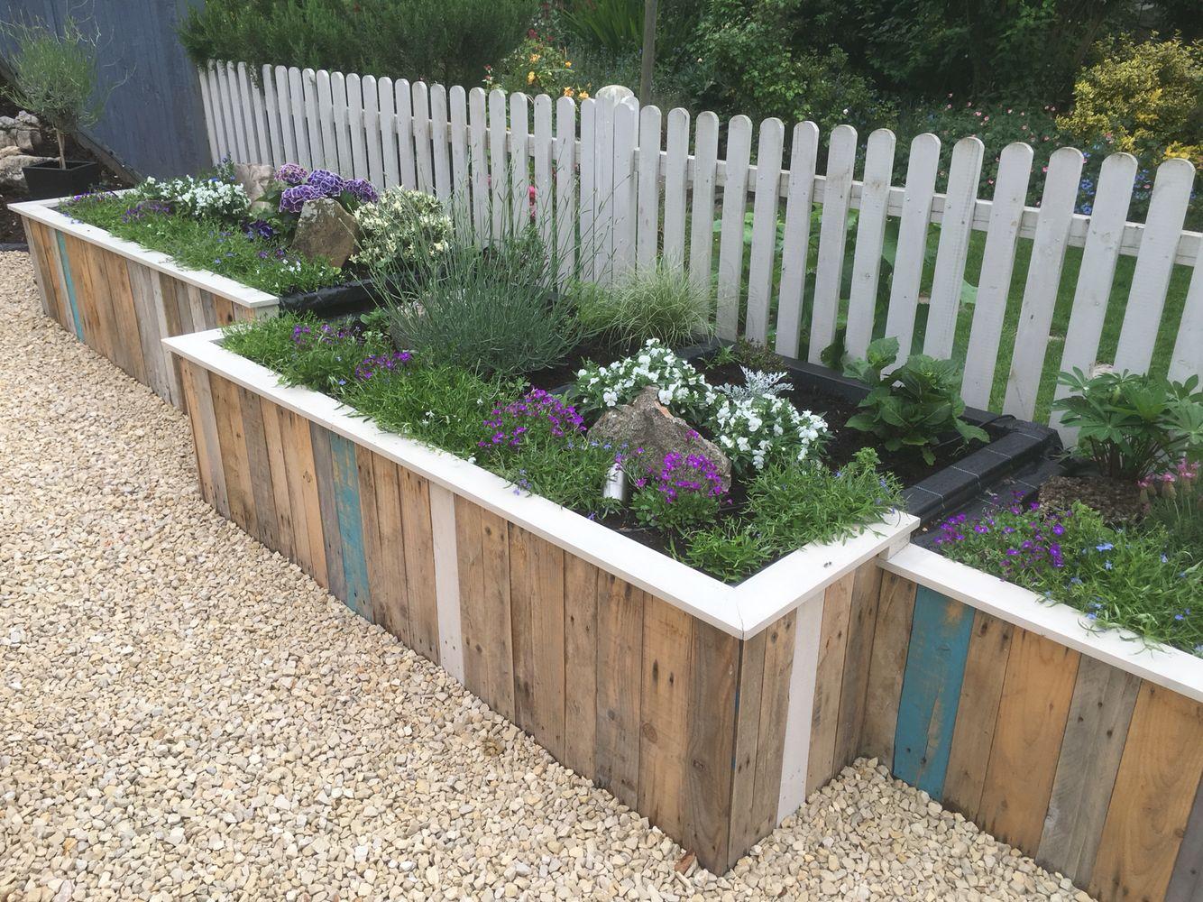 Raised Pallet Flower Bed Garden Fun Fence Diy