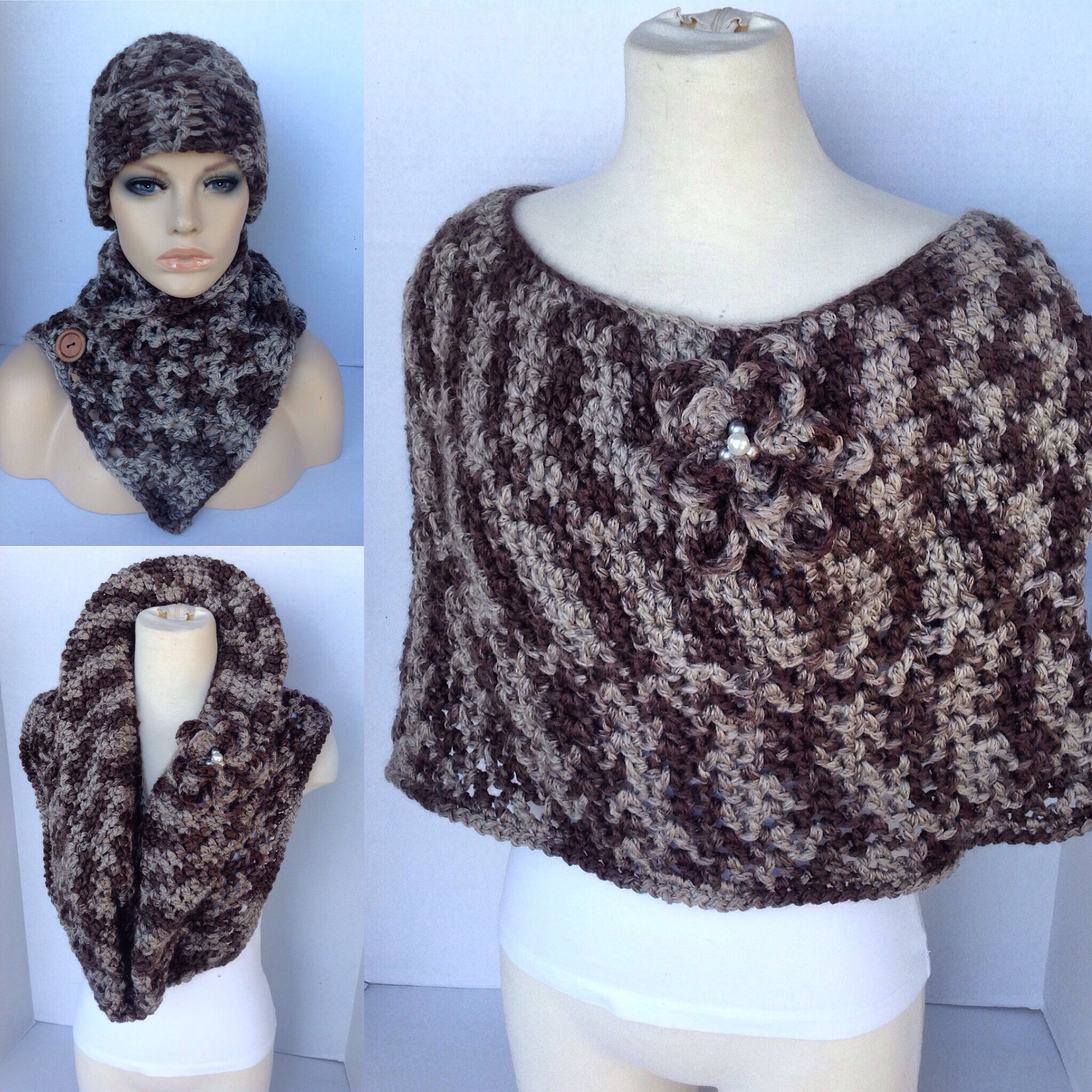 Crochet mini poncho matching hat and button front scarf | Crochet ...