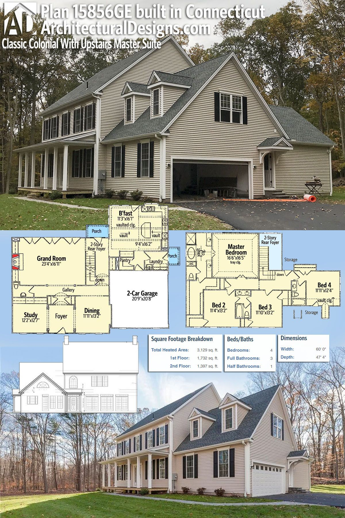 Plan 15856ge Classic Colonial House Plan With Upstairs Master Suite Colonial House Plans Colonial House House Plans