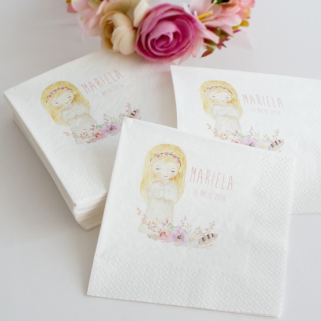 Servilletas de papel personalizadas con nombre y fecha para comuniones a juego con los - Servilletas personalizadas ...