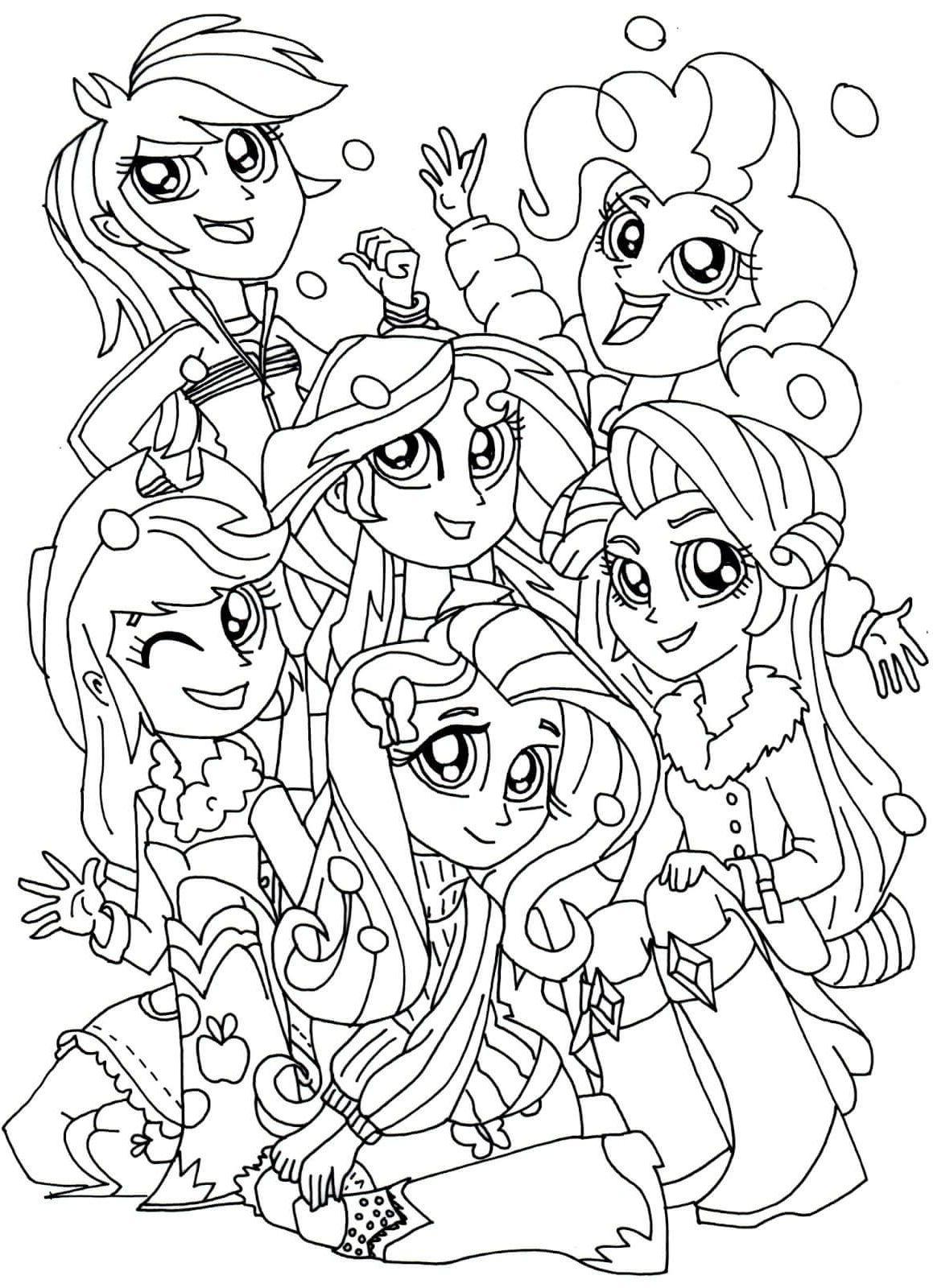Equestria Girls Coloring Pages Buku Mewarnai Kuda Poni Poni