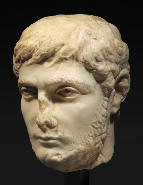 Emperor Gallienus, AD 253-268. A remarkable, sensitively carved portrait showing the emperor in early manhood. Son of the emperor Valerian. Compared to other Roman emperors of the age, Publius Licinius Egnatius Gallienus was an exception, as far as he was not a soldier-emperor. He was rather a thoughtful, intellectual ruler, possessing sophisticated Greek tastes.