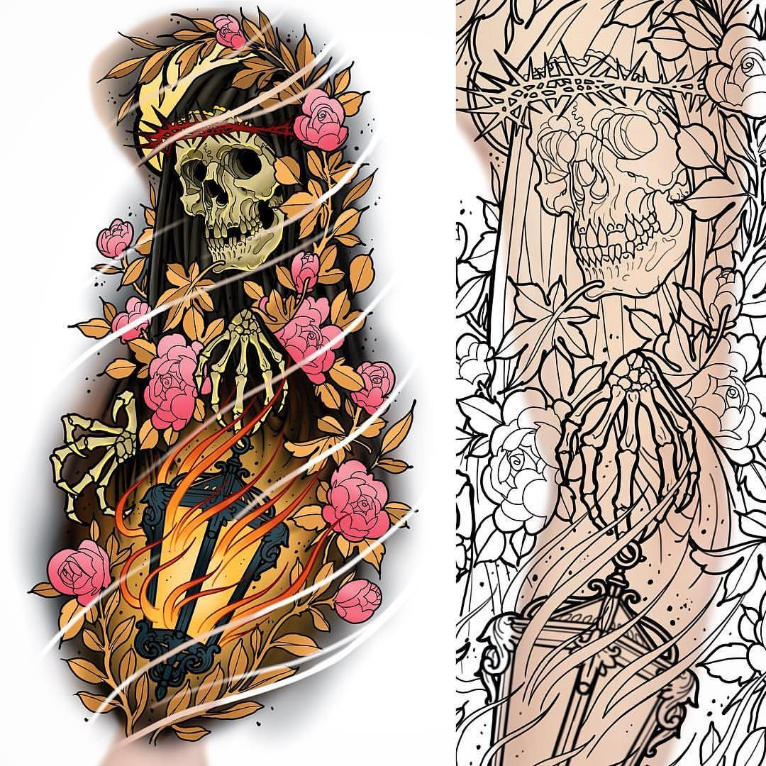 Japanese Skull Tattoo Design By Fantasysnake14 On Deviantart: Another New Sleeve Up For Grabs #tattoo #tattoos