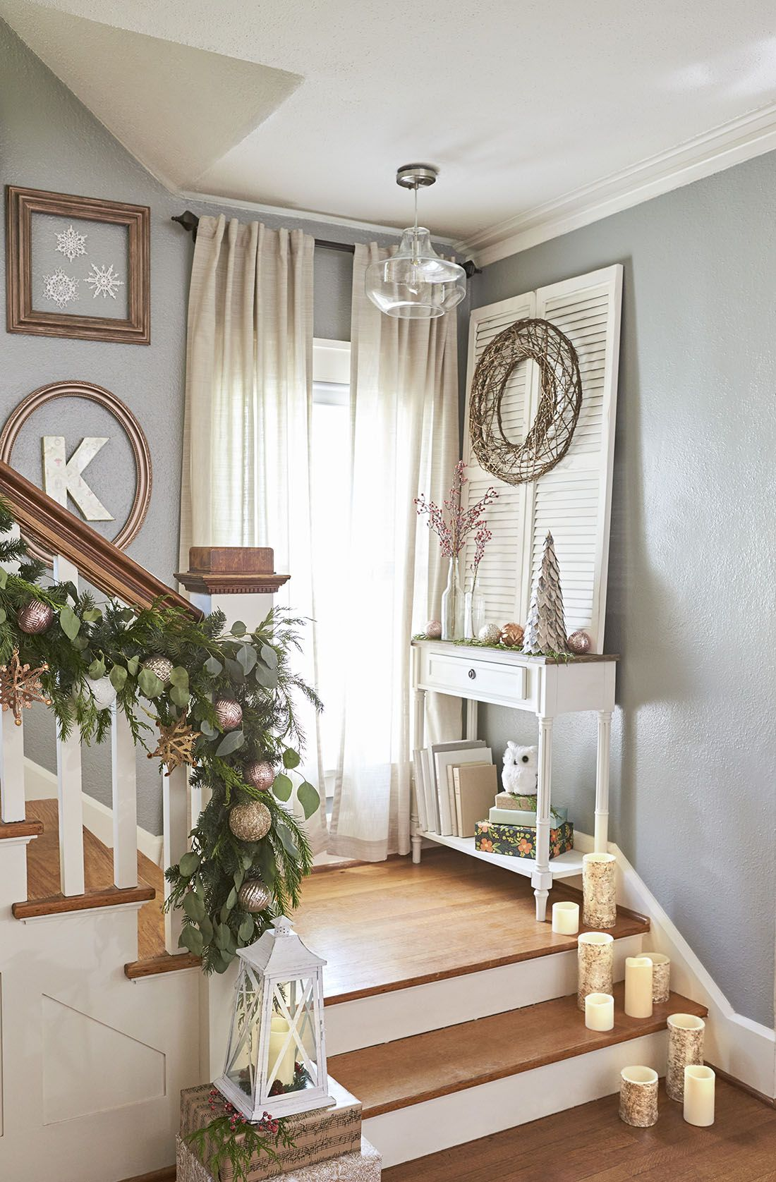 lowes decorating ideas for living rooms best floor lamps room stair landings are good spots holiday decor. set out ...