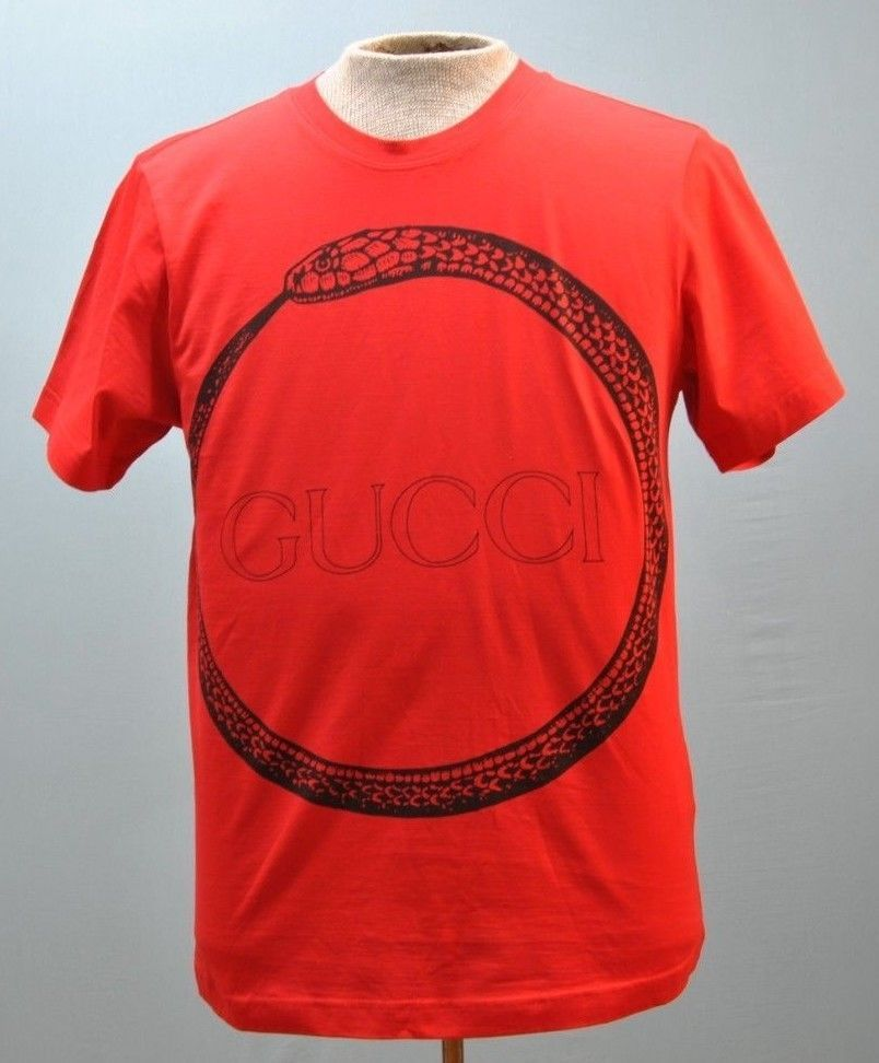 491460ca7b8 GUCCI Mens Red Solid T-Shirt Crew Neck Short Sleeve 100% Cotton Authentic Size  M  Gucci  CREWNECK
