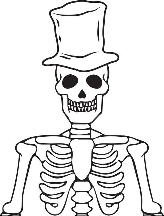Printable Halloween Skeleton Coloring Page for Kids