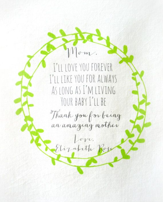 mother of the bride handkerchief . I'll love you forever printed hankie . scalloped edge cotton wedding hankie . your choice of color on Etsy, $12.00