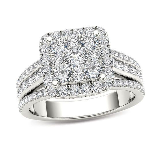 Vera Wang Love Collection 1 CT. T.w. Emerald-Cut Diamond Double ...